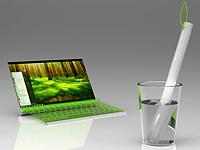 Концепт ноутбука на водяной зарядке
