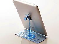 Кран с текущей водой как подставка для Apple