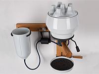 Фарфоровая кофемашина закреплена на стене